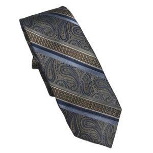 Pronto Uomo Platinum Silk Tie Blue Paisley